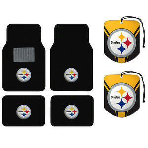 Nfl Pittsburgh Steelers Car Truck Carpet Floor Mats Hanging Air Freshener Set