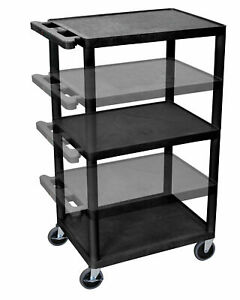 Luxor Compact Steel Mobile Computer Workstation Av Cart Black