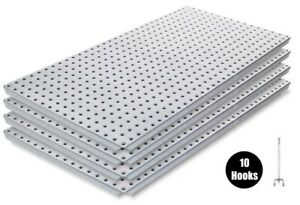 Alligator Board Metal Pegboard Panel Kit 4 With Flange And 10 Hooks