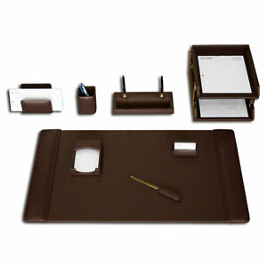 Dacasso 10 Piece Desk Set Chocolate Brown