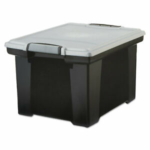 Storex Portable File Tote With Locking Handle Storage Box