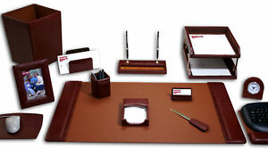 Dacasso 16 Piece Leather Desk Set