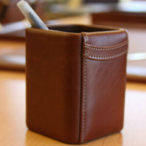 Dacasso 1000 Series Classic Leather Pencil Cup In Mocha