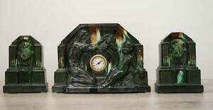 French Clock Set Garniture Ceramic Art Deco Bauhaus 1920