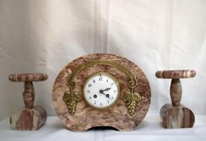 French Clock Set Garniture Pink Marble Base Art Nouveau 1920