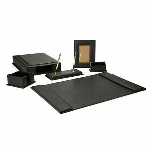 Mind Reader Pu Leather Full Desk Accessory Set Organizer