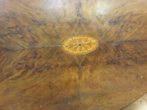 Victorian Parlor Table Oval W Inlaid Walnut