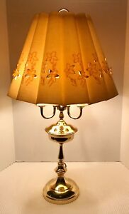 Three Arm Candle Brass Bouillotte Table Lamp With Vintage Linen Shade 29 75 H