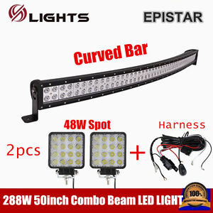 50inch Curved Led Light Bar 288w Combo 48w Spot Offroad 12v 24v Wire Harness