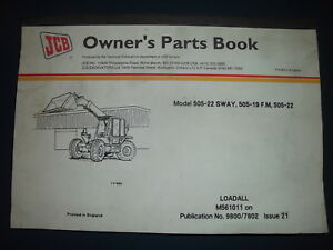 Jcb 505 22 Sway 505 19 F m 505 22 Loadall Loader Parts Manual Book Catalog