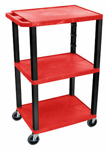 Offex Tuffy 3 Shelf Av Cart Black Blue