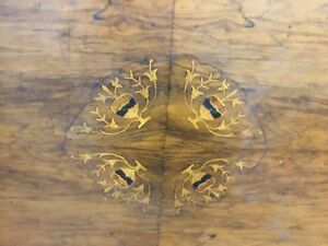 Victorian Parlor Table Oval W Walnut Inlays Good Condition