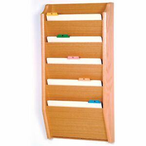 Wooden Mallet Five Pocket Legal Size File Holder
