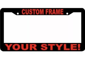 Custom Personalized Red Text Customized Black Metal License Plate Frame