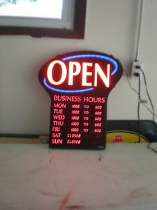 Newon Led Open Sign Programmable Business Hours Flashing Effects Red Black 6093