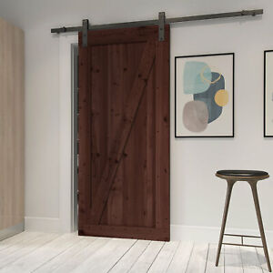Farm Style Solid Wood Panelled Wood Prehung Interior Barn Door Kit Brown