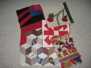 Mixed Lot Of 6 Orphan Quilt Blocks Coverlet Piece Cutters