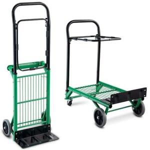 Folding Hand Truck 2 In 1 Multi functional Dolly Gardening Lawn Leaf Bag Support