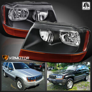 For 1999 2004 Jeep Grand Cherokee Black Headlights Amber Signal Lamps L R 99 04
