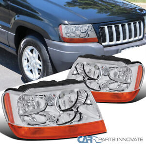 For Jeep 99 04 Grand Cherokee Clear Headlights Amber Turn Signal Lamps Headlamps