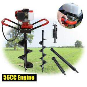 One Man 56cc 2 3hp Gas Post Planting Soil Hole Digger Kit W 10 6 Auger Bit