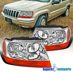 For 1999 2004 Jeep Grand Cherokee Headlamps Turn Signal Lights Pair