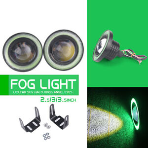2 5inch Car Angel Eyes Halo Ring Drl Lamp Cob Led Fog Light Projector Car Green