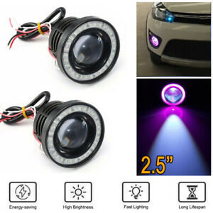 2 5inch Car Angel Eyes Halo Ring Drl Lamp Cob Led Fog Light Projector Car Purple