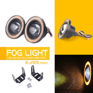 2 5 Car Suv Cob Led Fog Light Projector Yellow Angel Eyes Halo Ring Drl Lamp