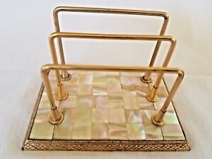 Vintage Brass Mop Mail Sorter Letter Envelope Holder Mother Of Pearl Desk