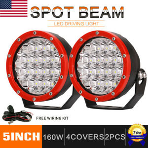 Pair 5inch 160w Cree Round Led Driving Lights Off Road Work Light Spot Lamp Red