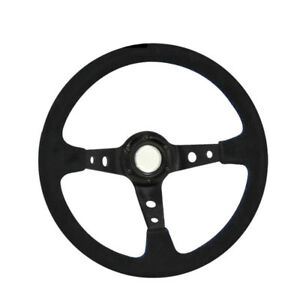 Racing Type 350mm Suede Leather Steering Wheel Black Center Blue Stitching