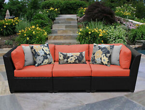 Tk Classics Barbados 3 Piece Patio Sofa With Cushions Tangerine