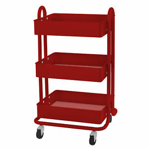 Ecr4kids 3 Tier Utility Rolling Cart Red