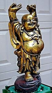 Early 20c Chinese Large Wood Carved Gilt Standing Happy Buddha Statue
