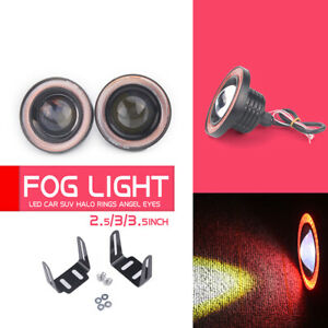 Red 2 5inch Cob Led Fog Light Projector Car Angel Eyes Halo Ring Drl Lamp
