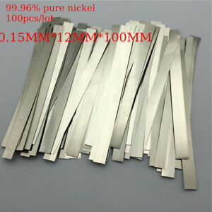 100pc 0 15x12x100mm Pure Nickel Plate 99 96 Strap Sheets For Battery Weld