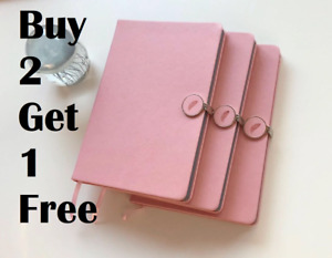 Idny Pink Leather Journal Leather Writing Notebook Hardcover W Magnetic Clasp