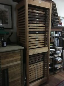 Letterpress Printers Cabinet W 29 Type Trays 26 Typefaces subject To Change