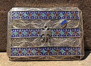 Antique Original Silver Russian Enamel 84 Hallmark Military Cigarette Case 2
