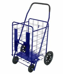 Utility Shopping Cart Foldable Outdoor Grocery Laundry W Wheels Black blue