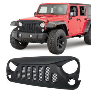 Front Grill Hood Mesh Insert Cover Bumper Grille Guard Trim For Jeep Wrangler Jk