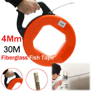 Top 30m Fiberglass Fish Tape Reel Conduit Ducting Rodder Pulling Wire Cable