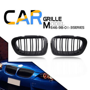 1pair For Bmw 1998 2001 E46 3 series 2door Gloss Black Front Kidney Grille Grill