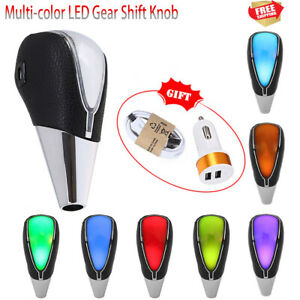 Leather Rgb Led Light Usb Touch Activated Manual Gear Shift Knob Shifter Cover