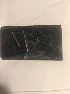 Vintage Letterpress Block 7up Football Player Running With Football 24