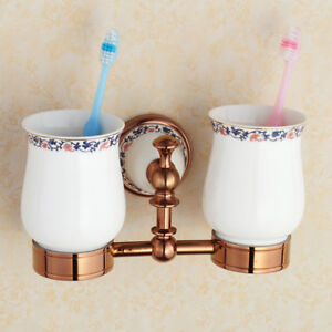 Bathroom Brass Toothbrush Holder Ceramic Cup Tumbler Wall Mount Storage Case E25