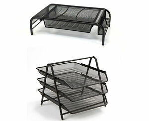 2 Piece Metal Mesh Monitor Stand 3 Tier Paper Tray File Desk Organizer Set