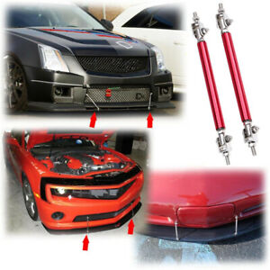 10cm Red Universal Adjustable Front Bumper Lip Splitter Spoiler Rod Support Bar