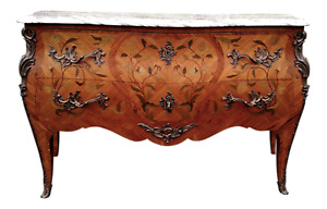 Antique 19th C French Inlaid Bronze Marble Top Commode Chest Dresser Server 59